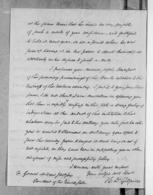 Henry Dilworth Gilpin to Andrew Jackson, September 17, 1833