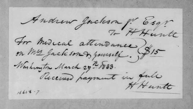 Henry Huntt to Andrew Jackson, March 27, 1833