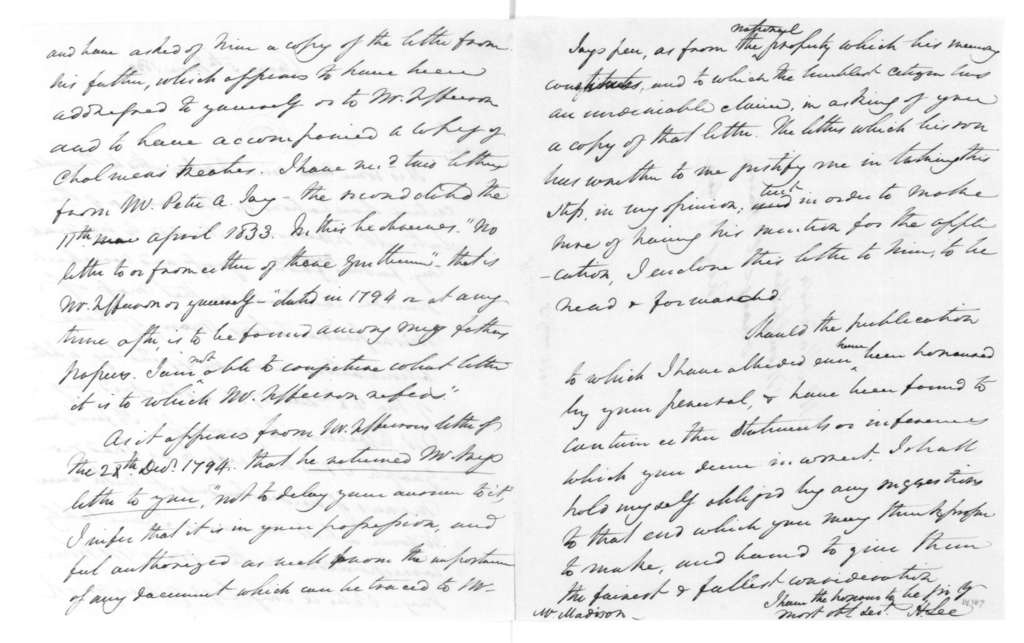 Henry Lee to James Madison, June 5, 1833.
