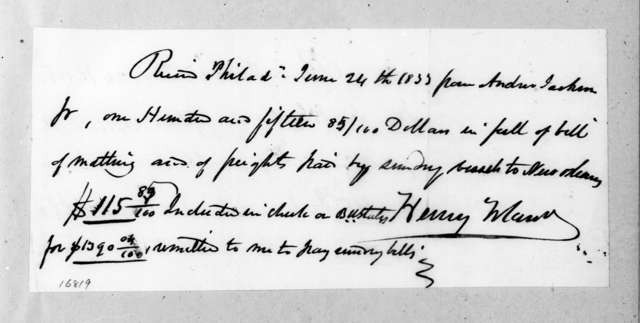 Henry Toland to Andrew Jackson, June 24, 1833