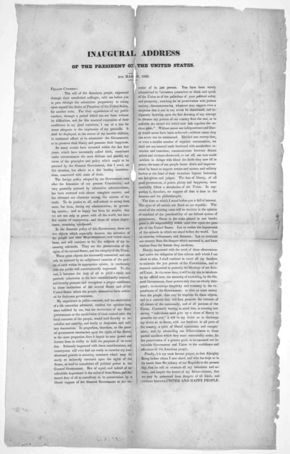 Inaugural address of the President of the United States. 4th March, 1833. [n. p. 1833].