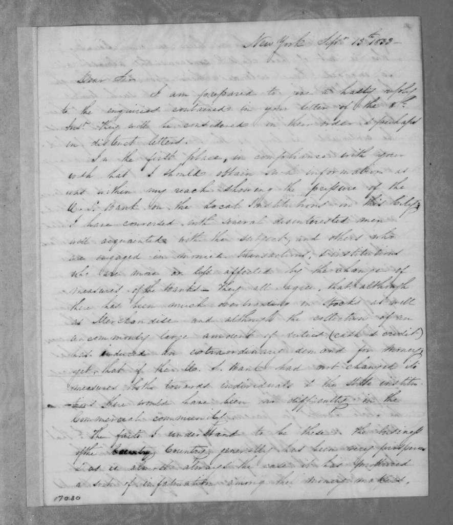 James Alexander Hamilton to Andrew Jackson, September 13, 1833