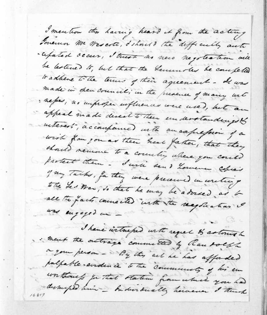 James Gadsden to Andrew Jackson, June 24, 1833