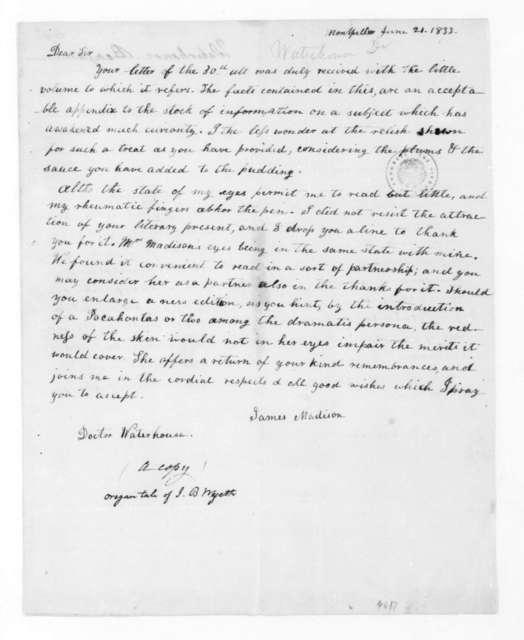 James Madison to Benjamin Waterhouse, June 21, 1833.