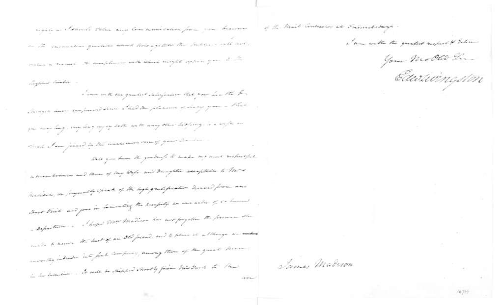 James Madison to Edward Livingston, January 19, 1833.