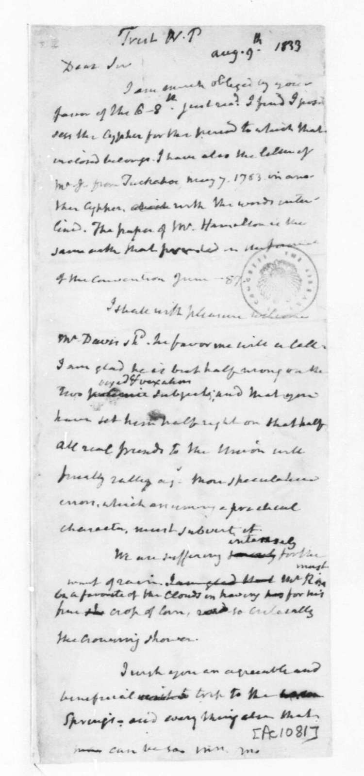 James Madison to Nicholas P. Trist, August 9, 1833. With Copy.