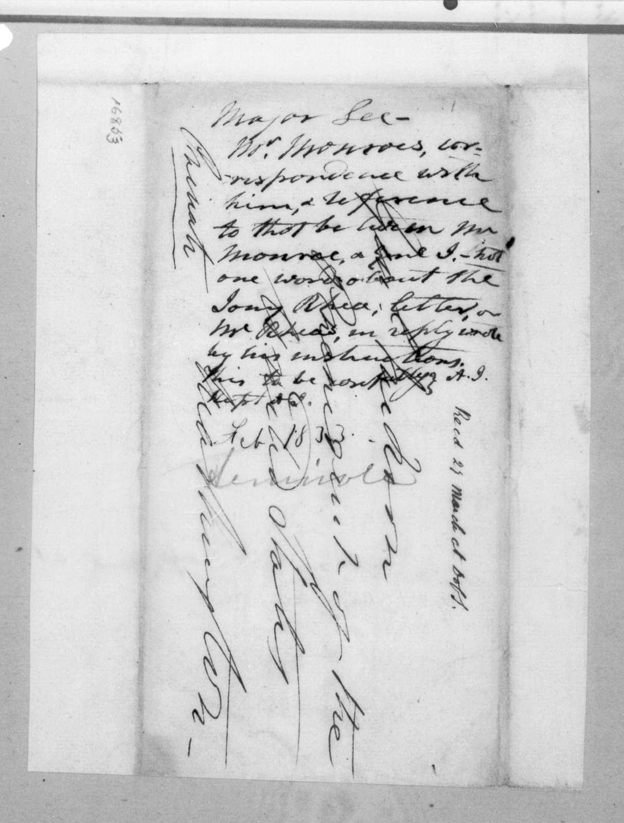 James Monroe to Henry Lee, February 10, 1833