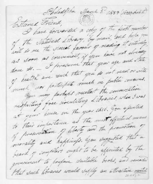 Jesse Torrey to James Madison, March 3, 1833.