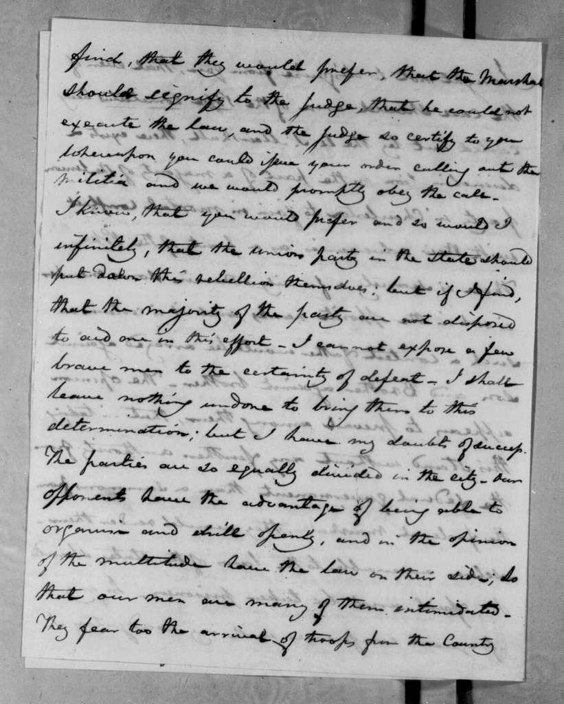 Joel Roberts Poinsett to Andrew Jackson, January 16, 1833