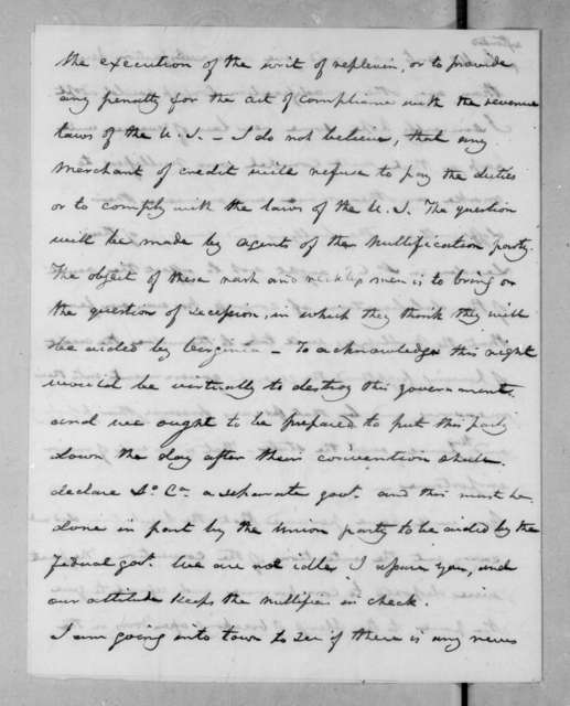 Joel Roberts Poinsett to Andrew Jackson, January 7, 1833