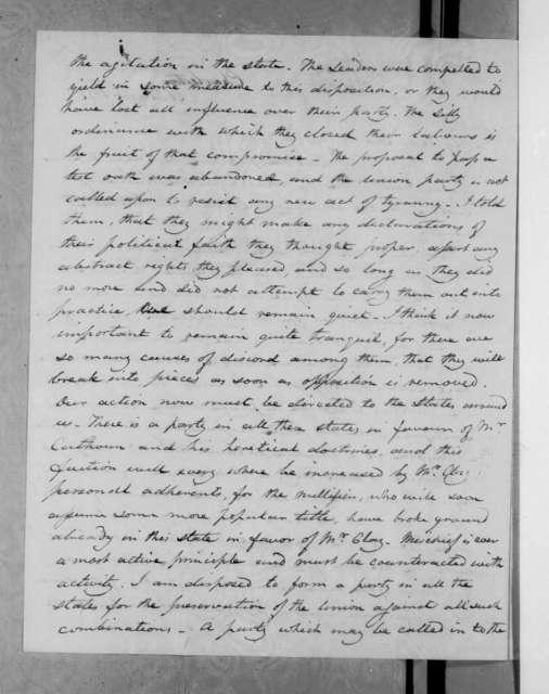 Joel Roberts Poinsett to Andrew Jackson, March 21, 1833