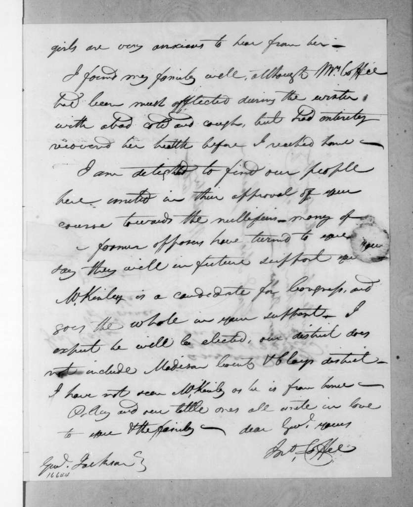 John Coffee to Andrew Jackson, March 25, 1833