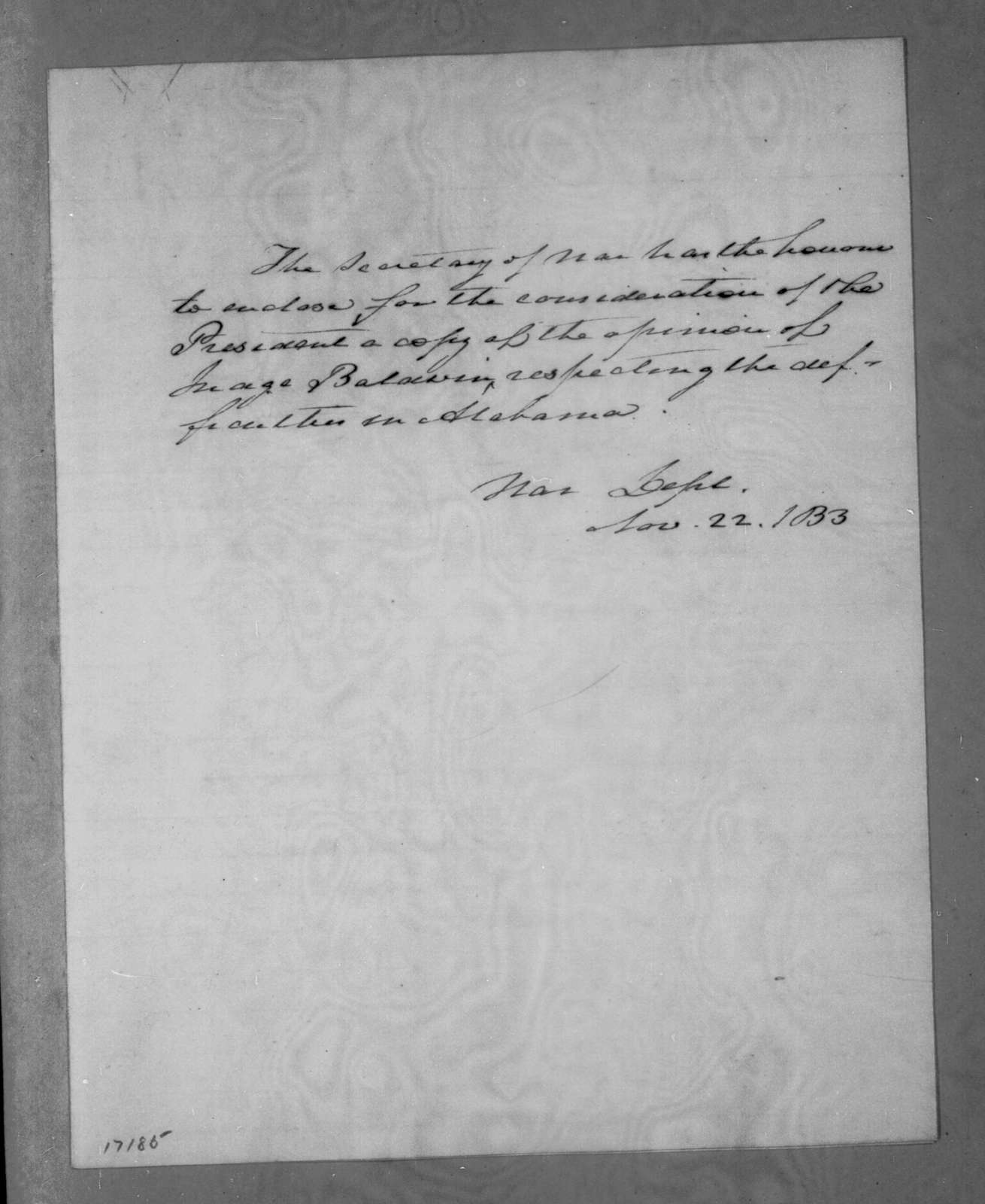Lewis Cass to Andrew Jackson, November 22, 1833