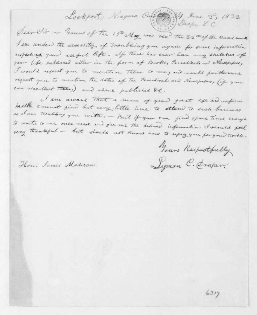 Lyman C. Draper to James Madison, June 3, 1833.