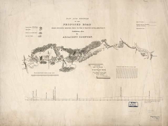 Map and profile of the proposed road from opposite Memphis, Tenn. to the St. Francis River, Arkansas T. : exhibiting also, the adjacent country /
