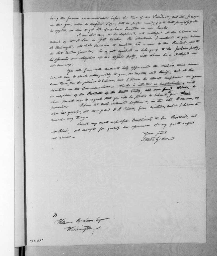 Martin Gordon to William Berkeley Lewis, December 16, 1833