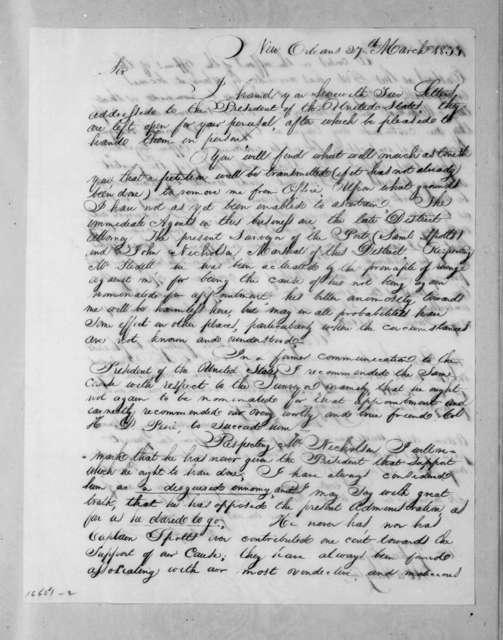 Martin Gordon to William Berkeley Lewis, March 27, 1833