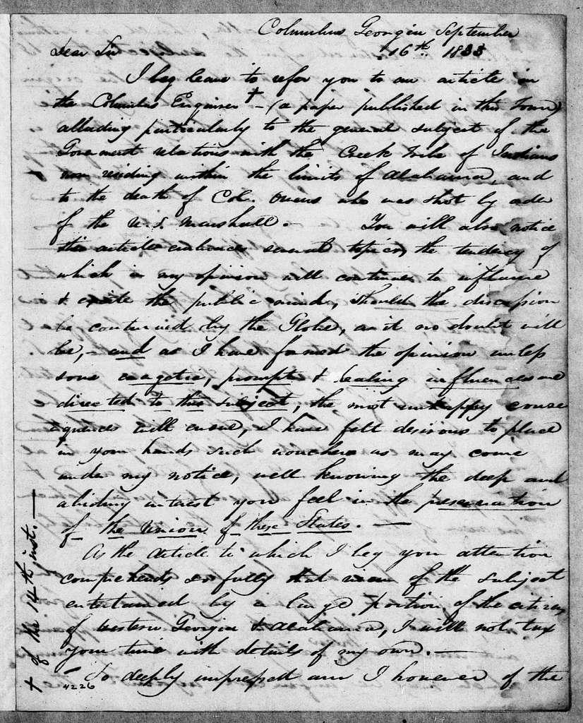 Martin Van Buren Papers: Series 2, General Correspondence, 1787-1868; 1833; 1833, Sept. 16 - Dec. 31