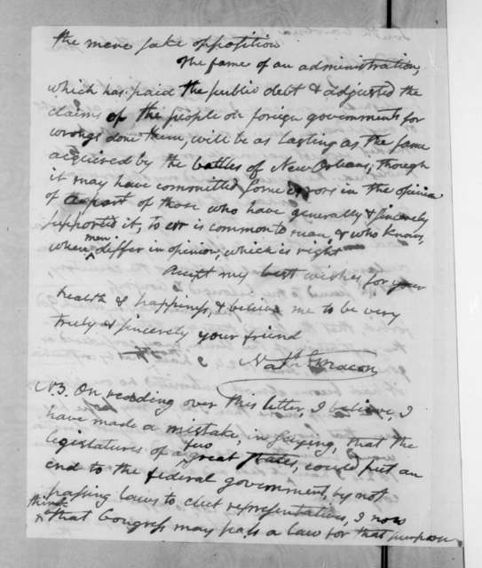 Nathaniel Macon to Andrew Jackson, August 26, 1833