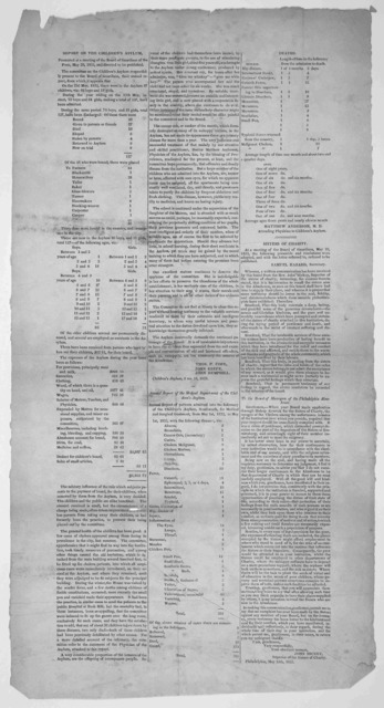 Report of the children's asylum. presented at a meeting of the Board of Guardians of the poor. May 20, 1833. Philadelphia, 1833.