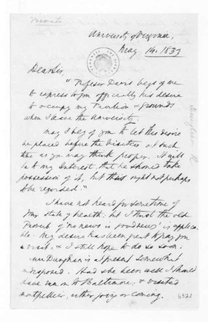 Robley Dunglison to James Madison, May 14, 1833.
