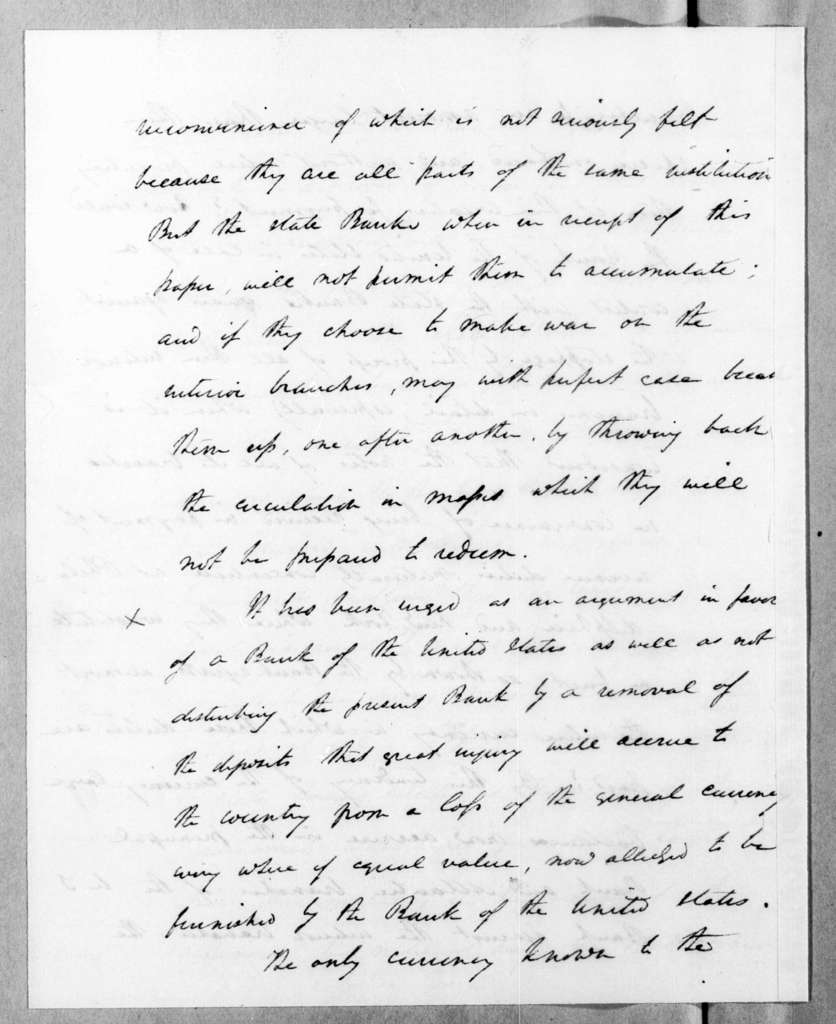 Roger Brooke Taney to Andrew Jackson