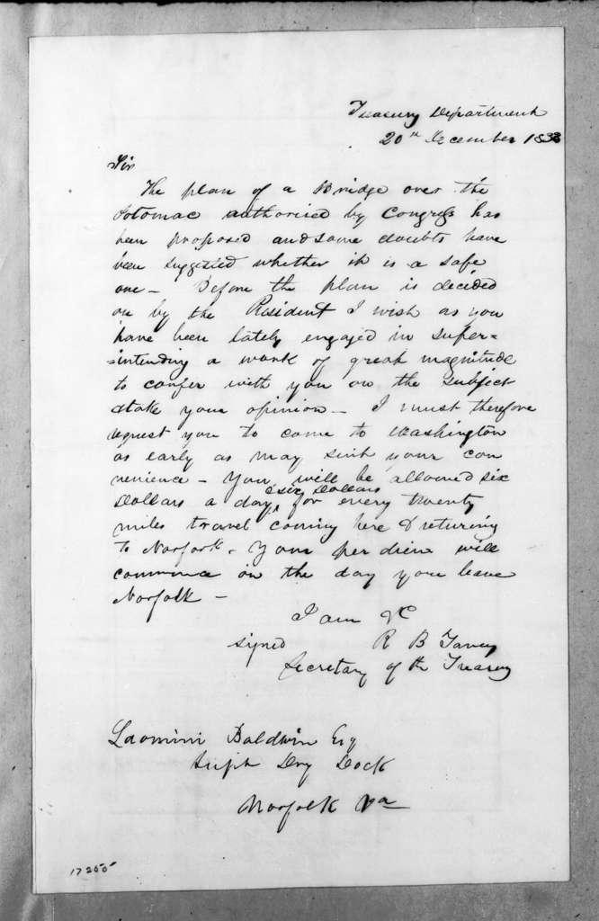 Roger Brooke Taney to Loammi Baldwin, December 20, 1833
