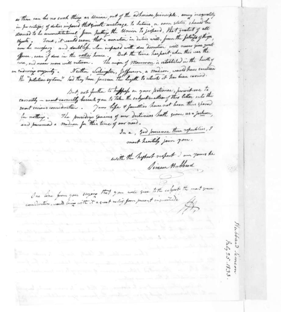 Simeon Hubbard to James Madison, July 25, 1833.
