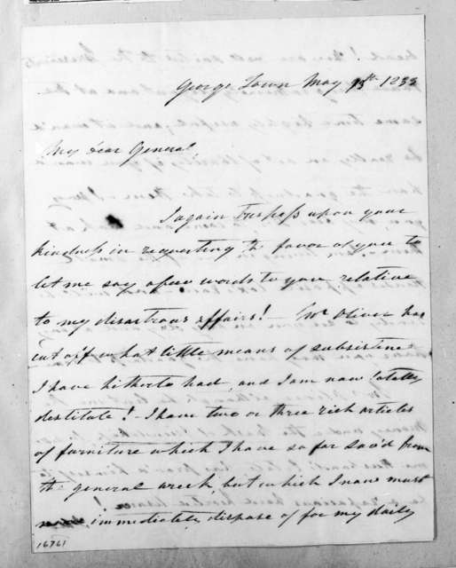 Susan Decatur to Andrew Jackson, May 13, 1833