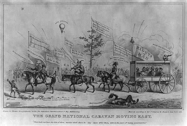 The grand national caravan moving east. / drawn by Hassan Straightshanks, under the immediate Superintendence of Maj. Jack Downing.