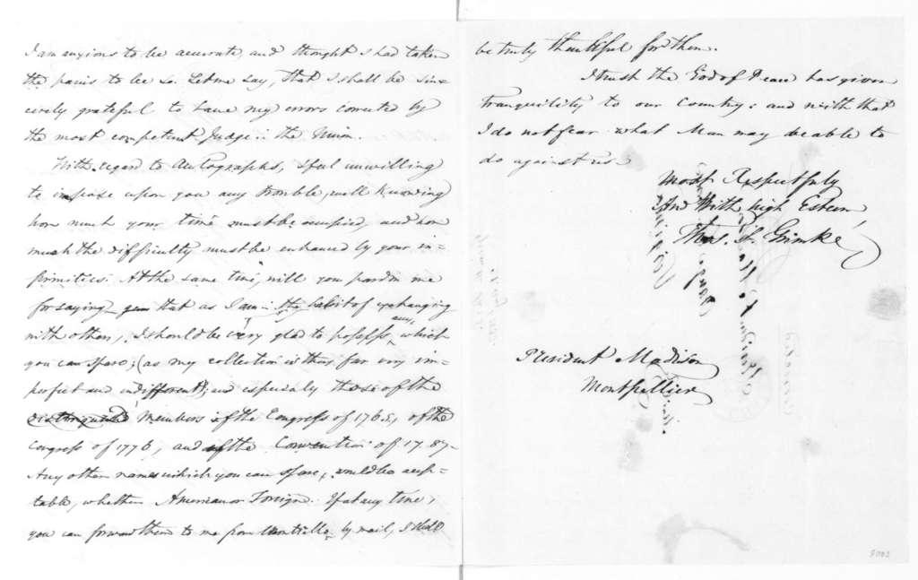 Thomas S. Grimke to James Madison, August 21, 1833.