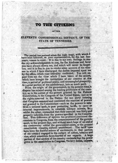 To the citizens of the eleventh Congressional district, of the state of Tennessee. 1833.