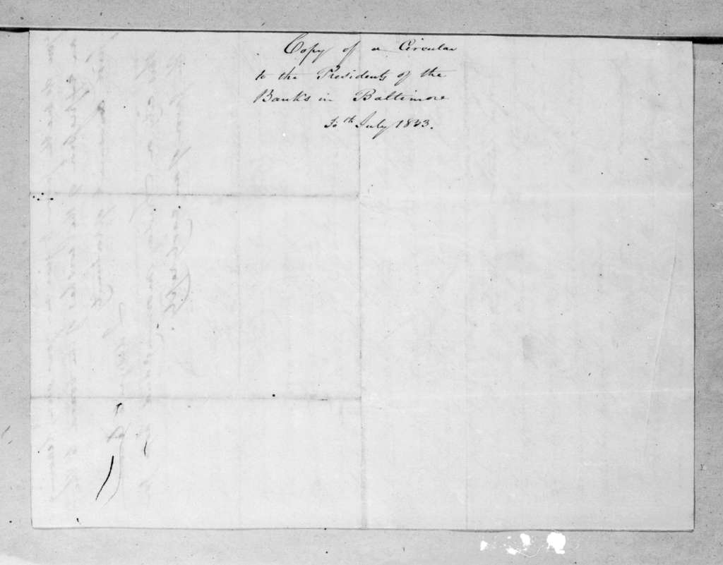 Unknown to Presidents of the Banks in Baltimore, July 30, 1833