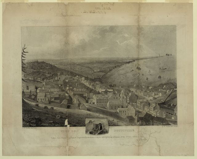 View of Pottsville Taken from Sharp Mountain & respectfully dedicated to the enterprising citizens of the Coal Region by J.R. Smith / / J.R. Smith, junr. del. ; J.R. Smith, senr. sculpt.