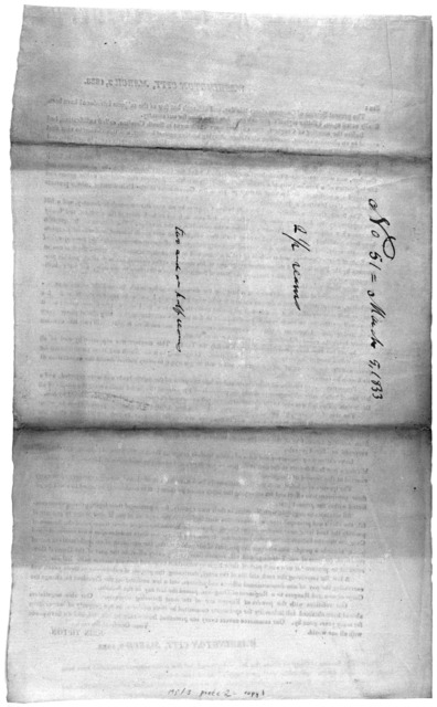 Washington City, March 2, 1833. Sir: The present session of Congress closes this day, and although but few of the subjects introduced have been finally acted upon, I flatter myself that much good has been done for our country ... John Tipton.