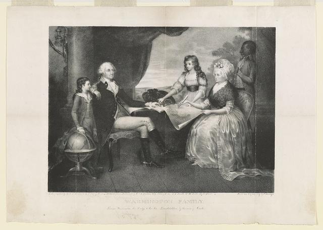 Washington family. George Washington, his Lady, & her two grandchildren by the name of Custis / lithographed by M.E.D. Brown, No. 5 Library St., Phila. ; from an engraving by E. Savage.