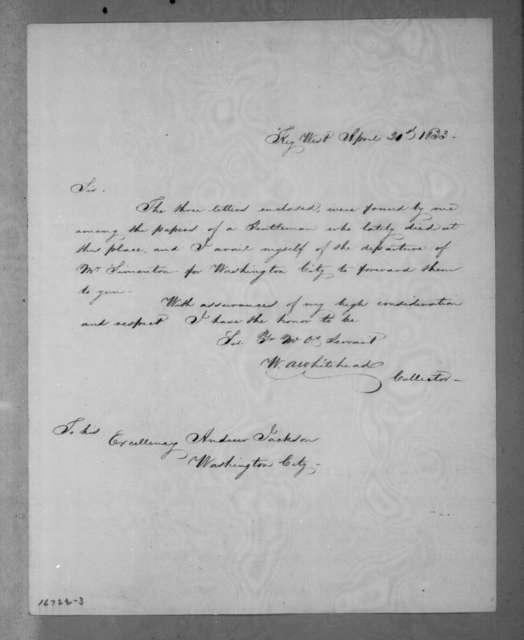 William Adee Whitehead to Andrew Jackson, April 20, 1833
