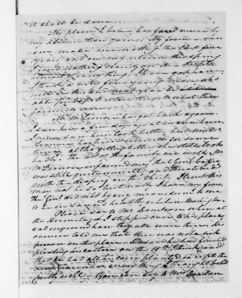 William Berkeley Lewis to Andrew Jackson, April 21, 1833