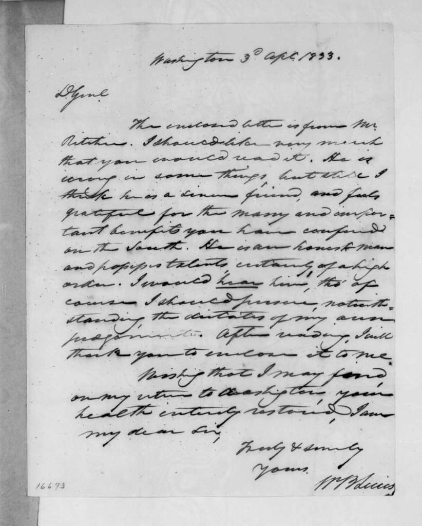 William Berkeley Lewis to Andrew Jackson, April 3, 1833