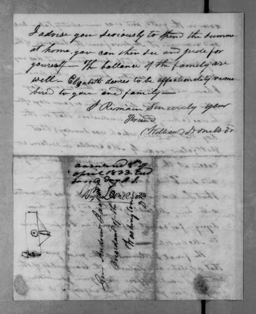 William Donelson to Andrew Jackson, March 26, 1833