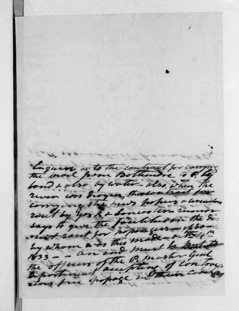 William Taylor Barry to Andrew Jackson, October 12, 1833