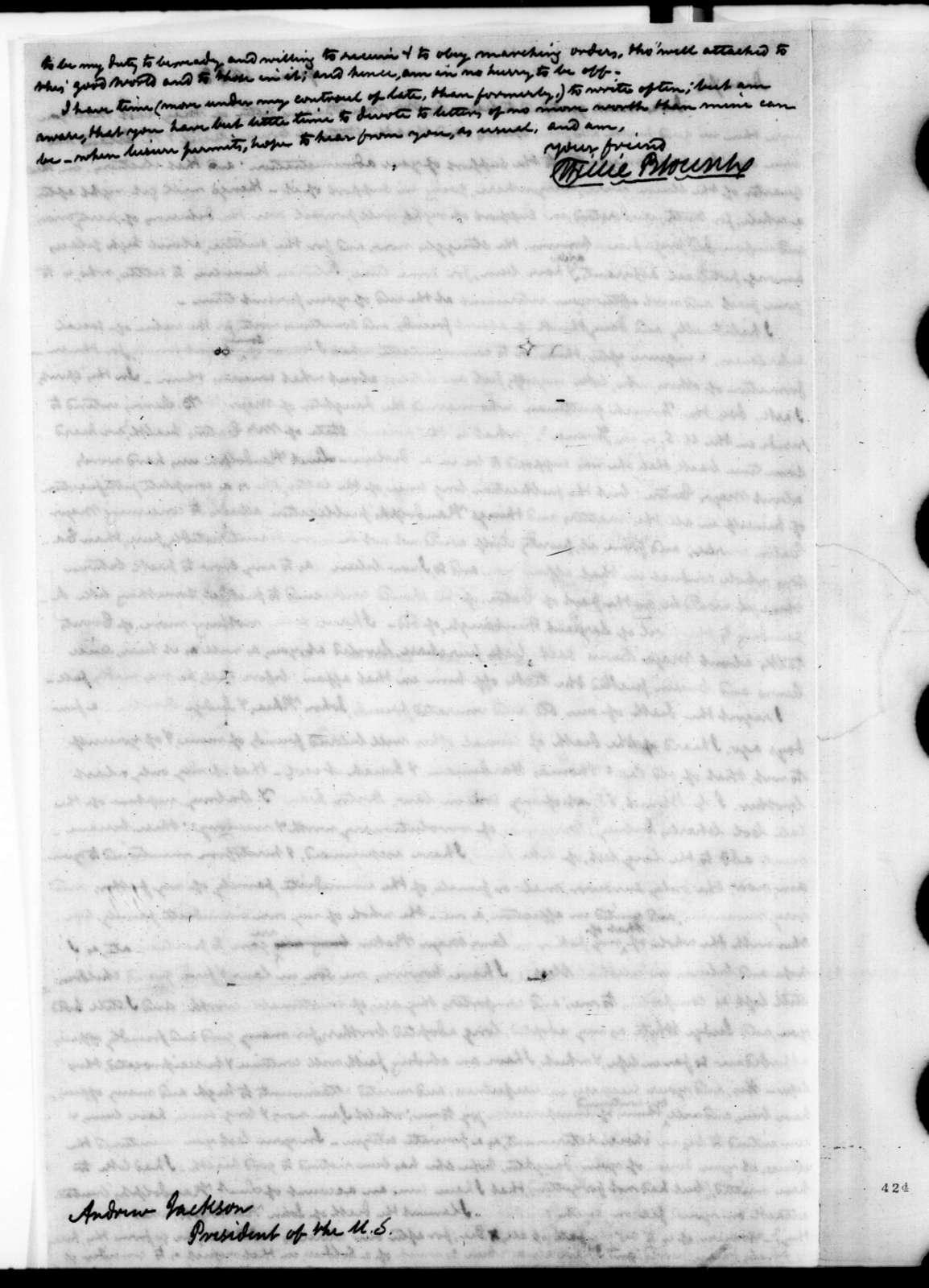 Willie Blount to Andrew Jackson