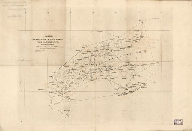 A diagram of the triangulation for the survey of the coast of the United States made in 1817 and 1833 : and the secondary triangles made in 1833 & 1834 in Connecticut & upon Long Island.
