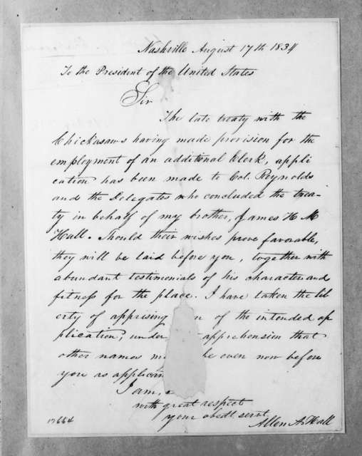 Allen A. Hall to Andrew Jackson, August 17, 1834