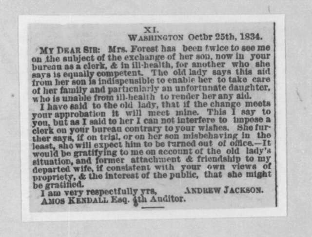 Andrew Jackson to Amos Kendall, October 25, 1834