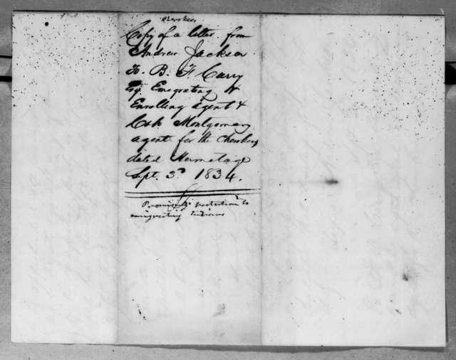 Andrew Jackson to Benjamin Franklin Currey, September 3, 1834