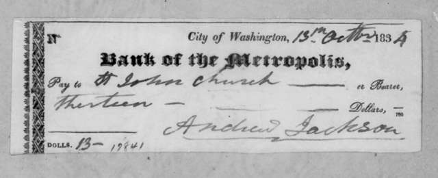 Andrew Jackson to Washington D. C. St John's Presbyterian Church, October 13, 1834