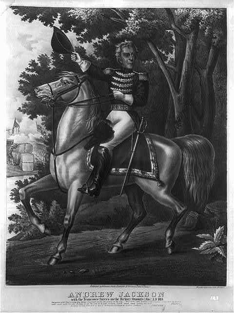 Andrew Jackson with the Tennessee forces on the Hickory Grounds (Ala) A.D. 1814 / Breuker & Kessler lith., Philada.