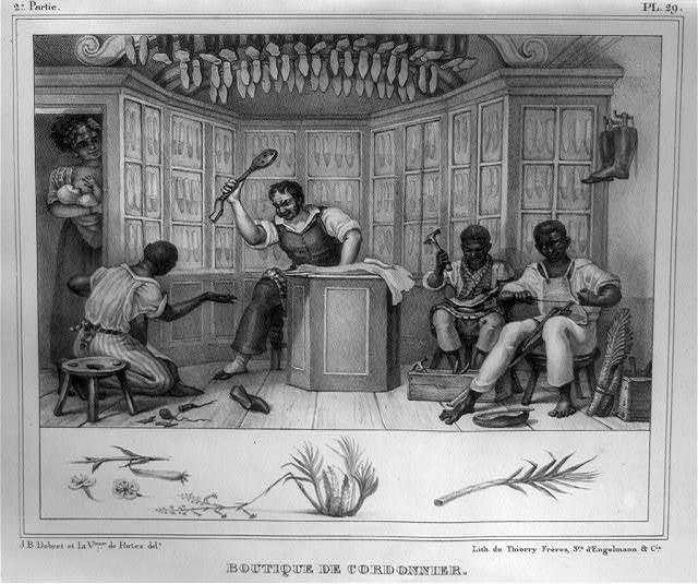 Boutique de cordonnier / J.B. Debret et la Vtesse. de Portes, delt. ; lith. de Thierry Frères, srs. d'Engelmann & Cie.