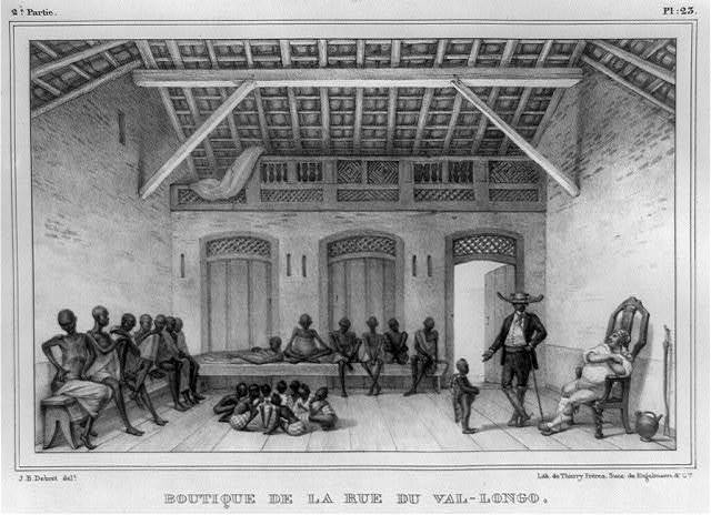 Boutique de la rue du Val-Longo / J.B. Debret, delt. ; lith. de Thierry Frères, succ. de Engelmann & Cie.